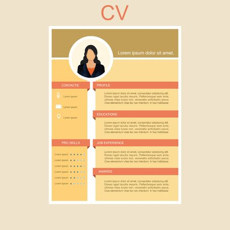 CV for women. Personal Resume. Feminine resume with infographic design Vector illustration.