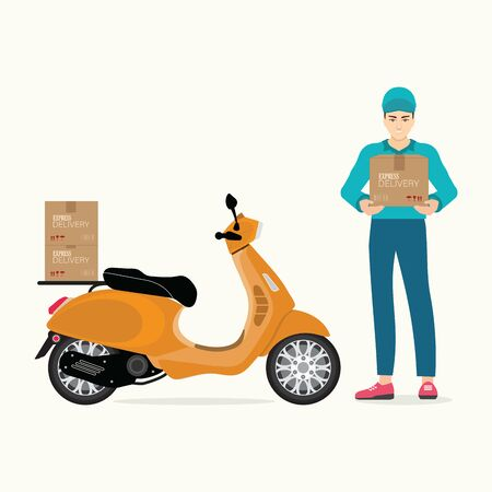 Delivery man holding boxes with scooter motorcycle cartoon vector illustration.