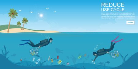 Diver cleaning plastic trash from ocean, Stop plastic pollution, Save the oceans.Environmental disaster concept Vector illustration.