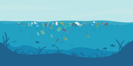 Garbage floating in the water. Water pollution environment conceptual vector illustration.
