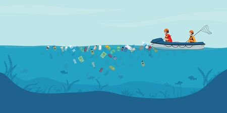 Garbage floating in the water, Male volunteers scavenge from the sea or ocean on boat, water pollution environment conceptual vector illustration.