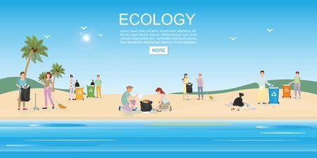 Mensen die vuilnis op het strand schoonmaken. Concept milieubehoud en oceaanvervuiling problemen vector illustratie. Vector Illustratie