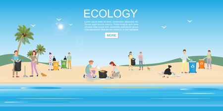 People cleaning garbage on beach area. Concept environmental conservation and ocean pollution problems vector illustration. Stock Illustratie