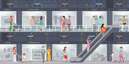 People shopping in a Shopping mall with modern retail store with many shops. Shopping interior center buiding design, restaurant and boutique, store and shop with food court, commercial vector illustration.
