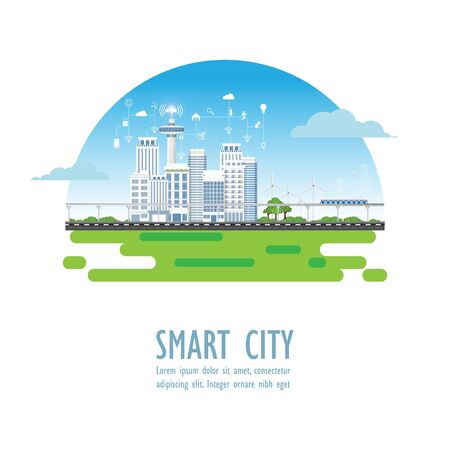 Smart city with different icons and elements isolated on white. Urban landscape with modern buildings and skyscrapers vector illustration.