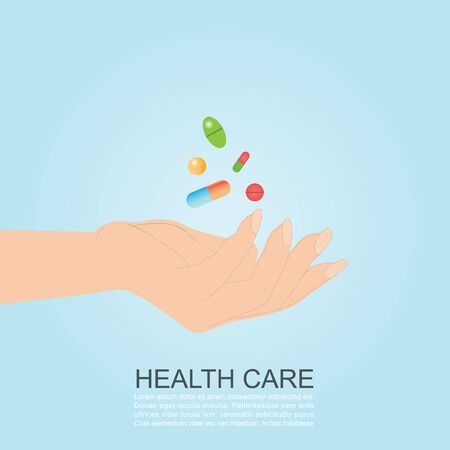 Womans hand holding colorful medicines pills capsules isolated on blue background. Health care banner vector illustration. Иллюстрация