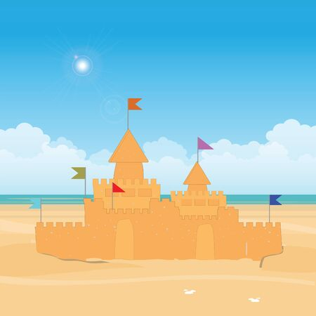 Fantasy Sandcastle with flag. Summer vacation flat design style vector illustration.