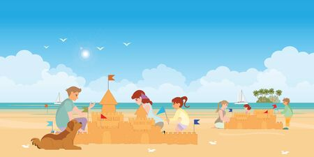 Happy family playing on the beach and Children building a sandcastle at sea on summer holidays.vector illustration.