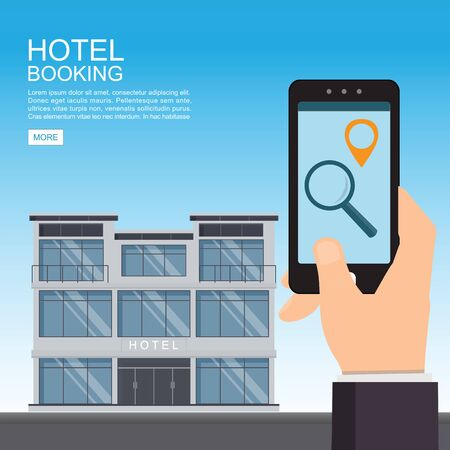 Hotel  booking and search online. Hand holding smartphone.Hotel building detailed and reservation application interface. Vector illustration.