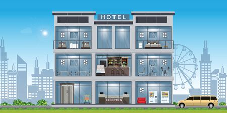 Intérieur de l'hôtel situé à l'intérieur du bâtiment avec réception et chambres, restaurant et cafe.vector illustration.