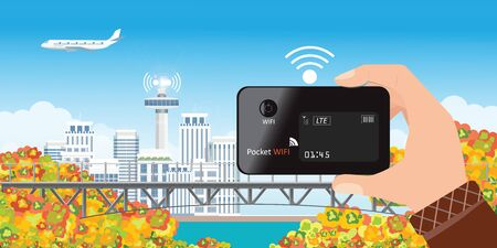 Human holding hotspot pocket WIFI on the autumn and city view background to share internet to other device, concept vector illustration.