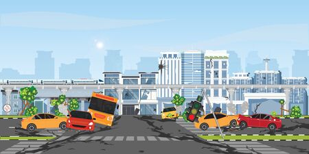 The earthquake destroyed building and street, Damaged city street. Earthquake damage, cataclysm damages road destruction and destroyed urban crossroad. War disaster or car destroy earthquake. Natural disasters vector illustration.