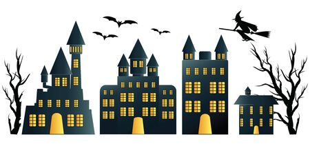 Dark silhouette the abandoned village isolated on white background, Halloween night concepts, vector illustration.