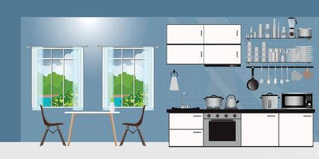 Kücheninnenraum mit Möbeln. Gemütliches Kücheninterieur mit Tisch, Herd, Schrank, flache Vektorgrafik.