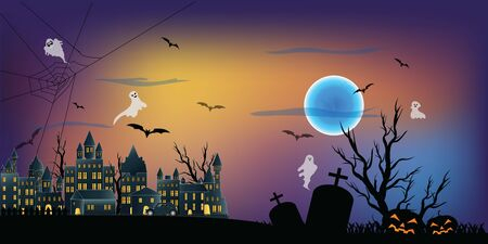 The dark night Halloween and full moon in the sky over the abandoned village background as happy festival day and party concept. vector illustration. 向量圖像