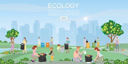 Freiwilliger, der Müll im Park auf Stadtansichthintergrund säubert. Konzept Umweltschutz und Stadtverschmutzung Probleme Vector Illustration.