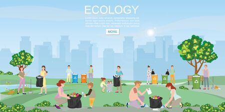 Volunteer cleaning garbage in the park on city view background. Concept environmental conservation and city pollution problems vector illustration.
