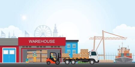 Workers loading the truck with packaged goods at the industrial warehouse with a forklift truck, vector illustration.