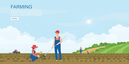 Couple farmers planting seedlings plants vegetables, agricultural workers eco farming concept farmland countryside landscape horizontal, vector illustration.