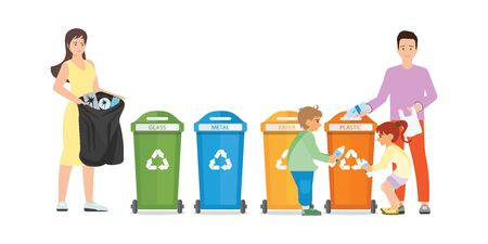 Family sorting garbage into garbage collector on isolated on white background. City waste recycling. Ecology protection concept cartoon, Vector Illustration.