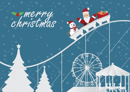 Christmas greeting card with christmas santa claus with snowman and gifts on the roller coaster on amusement park background, Christmas and new year decoration Vector illustration. Ilustrace