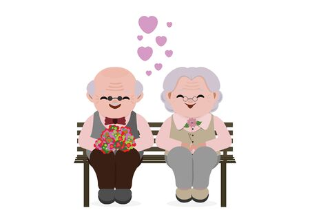 Happy old senior couple in love. Elderly people sitting on bench together. Vector illustration.