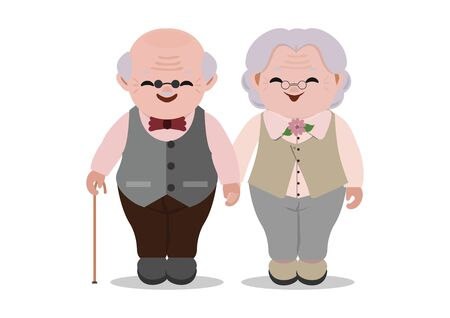 Happy old senior man and woman in glasses standing together arm in arm isolated on white background. Aged grey haired couple. character cartoons vector illustration. Ilustrace
