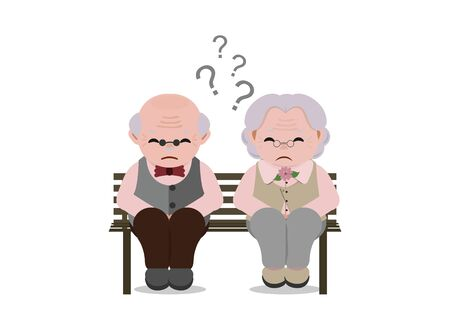 Senior couple with sad facial expressionold. Elderly people sitting on bench together. Vector illustration.