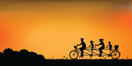 Silhouette of happy family cycling tandem bicycle with beautiful sky at sunset. healthy lifestyle cartoon Vector illustration.
