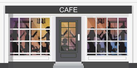 Silhouettes of men and women standing at a party ,friends celebrating restaurant, people enjoying drink at night, vector illustration.