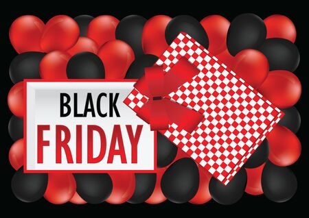 Top view of Black Friday sale design. Opened red empty gift box with red ribbon and bow on balloons background. Template for your presentation design, banner, brochure or poster. Vector illustration.