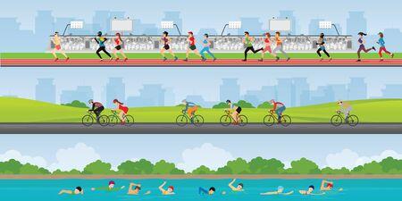 Triathlon marathon sport competition race, set of sportsmen people on bike, running and swimming, vector illustration. Stock Illustratie
