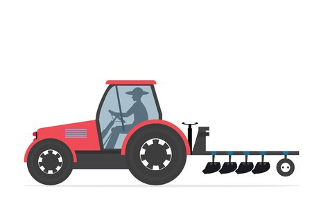 Farm tractor isolated on white background.Heavy agricultural machinery for field work.icon vector illustration. Stock Illustratie