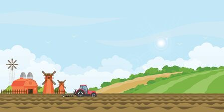 Farmer driving a tractor in farmed land and farmhouse with wind mill on rural farm landscape hill background. agriculture farmhouse vector illustration.
