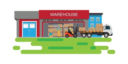 Forklift working with cargo container and truck with warehouse building background, freight transportation, shipment and logistics vector illustration. Stock Illustratie
