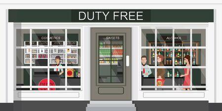 Vista frontale del negozio duty free e persone che acquistano cosmetici, alcol e cibo economici. Senza tasse. piatto illustrazione vettoriale.