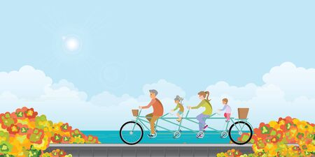 Happy family cycling tandem bicycle in autumn landscape with colors of leaves and lake, healthy lifestyle cartoon Vector illustration. Stock Illustratie