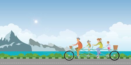 Happy family cycling tandem bicycle in summer landscape with mountain and lake, healthy lifestyle cartoon Vector illustration.