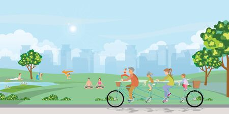 Happy family cycling tandem bicycle in the park on city view background. healthy lifestyle cartoon Vector illustration.