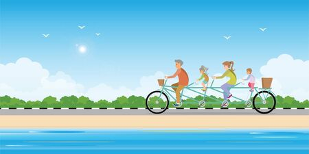 Happy family cycling tandem bicycle on beach, healthy lifestyle cartoon Vector illustration.