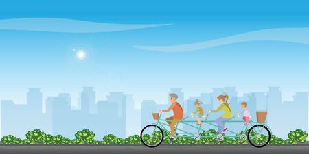 Happy family cycling tandem bicycle on treet on city view background. healthy lifestyle cartoon Vector illustration.