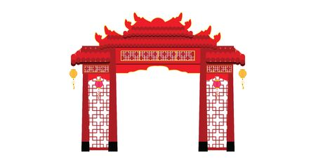 Chinese gate architecture isolated on white background. vector illustration.