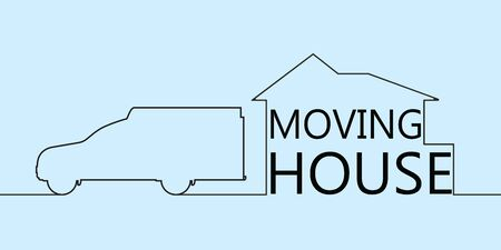 Continuous line drawing of moving house with car. One line drawing vector illustration isolated on blue background.vector illustration. Stock Illustratie