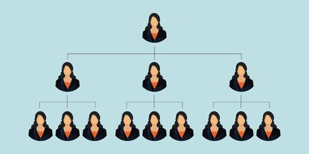 Corporation business hierarchy isolated on blue background.Organization chart template of the , people structure, character cartoon business people conceptual, vector illustration.