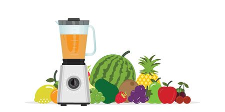Fruit Juice Squeezer or Blender Kitchen Appliance with group of fruits isolated on white background.vector illustration.