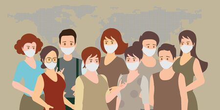 People wearing medical masks to prevent Coronavirus flu.People face in respiratory protective mask and coronavirus cell disease.  Dangerous cases of flu. Medical health risk. vector illustration. Çizim