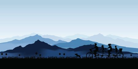 Silhouette of happy family cycling tandem bicycle with blue landscape with silhouettes of misty mountains and hills and tree. Active rest of parents with children cartoon Vector illustration.