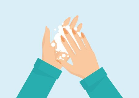Wash your hand with soap for protect virus isolated on background.vector illustration. Stock Illustratie