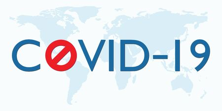 Covid 19 Coronavirus vector icon sign banner on world map. Stop Novel Coronavirus outbreak covid-19 2019-nCoV symptoms Travel or vacantion warning with air plane and quarantine with protective mask.