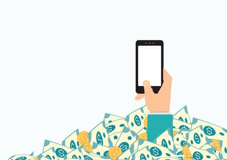 Hand holding smart phone in pile of money, business conceptual vector illustration.